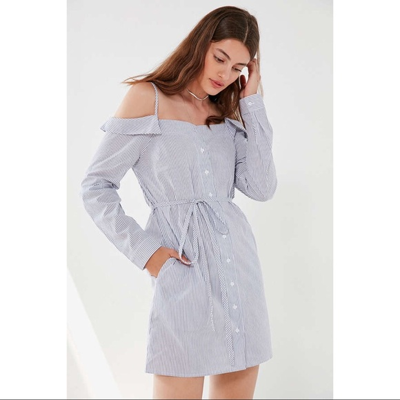a776deed38 UO Cooperative Striped Button-Down Shirt Dress